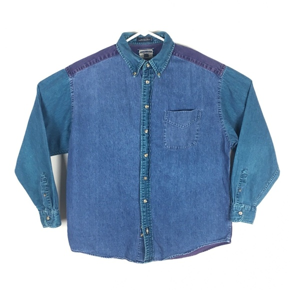 4bc7d8ac133 Vintage Lee Jeans Color Block Denim Shirt Mens